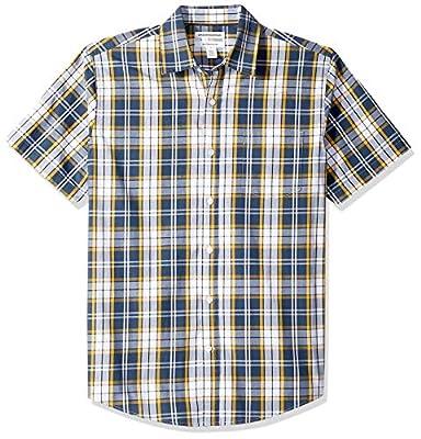 Amazon Essentials Men's Regular-Fit Short-Sleeve Plaid Casual Poplin Shirt, Navy/Gold, Small