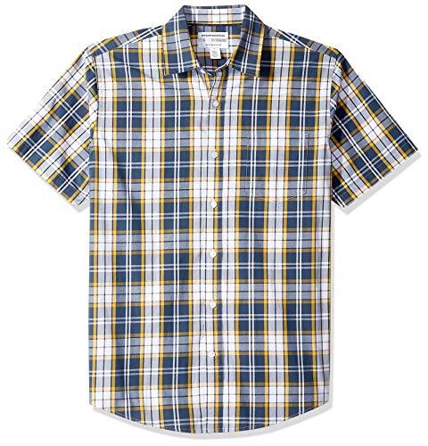 Amazon Essentials – Camisa informal de popelín a cuadros de manga corta de corte recto para hombre, Navy/Gold Plaid, US M (EU M)