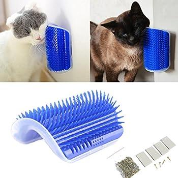 Tpocean - Peigne de Toilettage et Massage pour chat, courbé, Avec Herbe-aux-chats