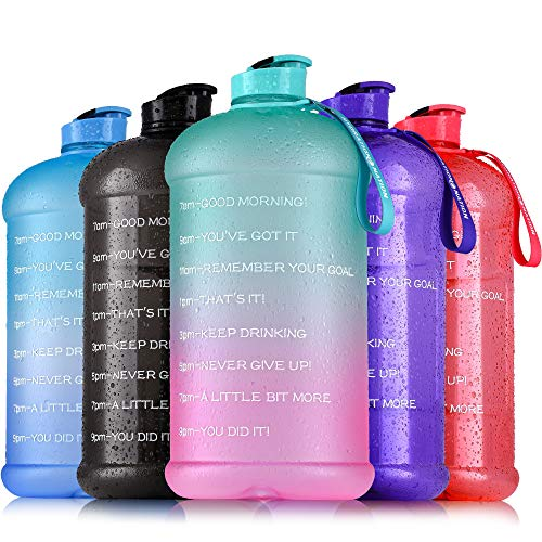 Hydration Nation 1 Gallon Water Bottle Motivational Time Reminder  Large 128oz Gallon Water Jug  Leak Proof Gallon Jug With Flip Cap amp Strap  Water Bottle Gallon For Sports amp Outdoors Green/Pink