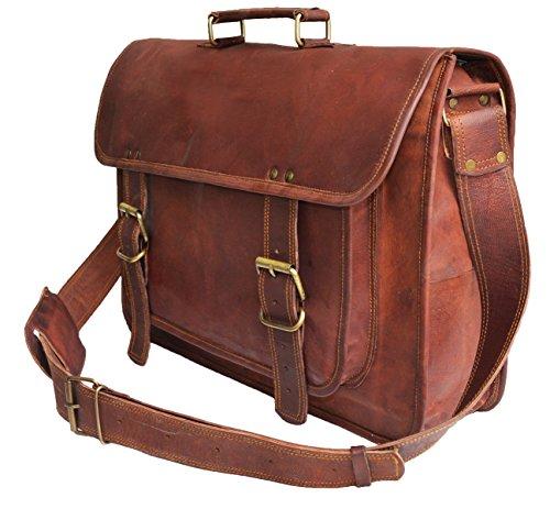 46 cm Grande Alta calidad hecha a mano Marron suave Cabra Bolso de cuero del mensajero para portátiles cada día Bolso de hombro cartera bolsa de cuerpo Notebook Bag Office cruzado para hombre y mujer