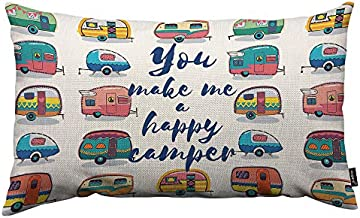 HOSNYE Camper Van Throw Pillow Cover You Make Me A Happy Camper Linen Fabric for Couch Bed Sofa Car Waist Cushion Cover 12 x 20 inch Pillow Case