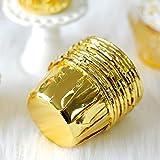 CAPOOK -50 PCS Ronda de laminación Copa de Pastel de Cajas del Mollete del Chocolate de la Magdalena del trazador de líneas de la hornada Taza, tamaño: 6,5 x 5 x 4 cm (Oro) Molde de Torta