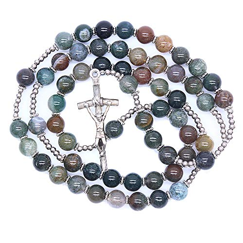 TENGXINGKEJI Religious Catholic Natural India Agate Prayer Beads Bless Rosary Necklace Silver Cross 8MM