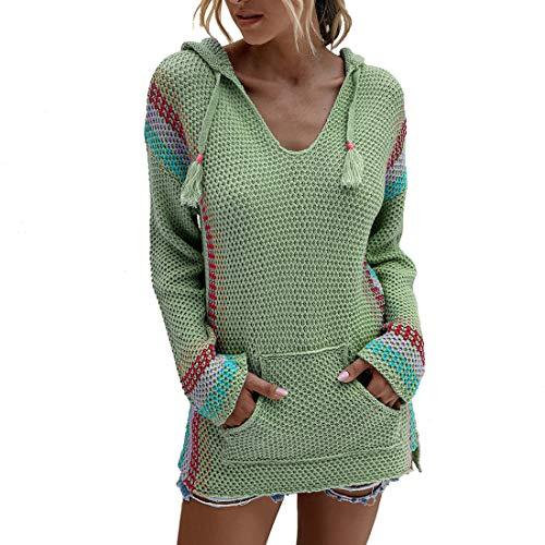 Yczx Strickpullover mit Kapuze Damen Lässige Pullover Langarm V-Ausschnitt Sweatshirts mit Fronttaschen Farbblock Patchwork Moderne Mode Hoodies Strickpullover XL