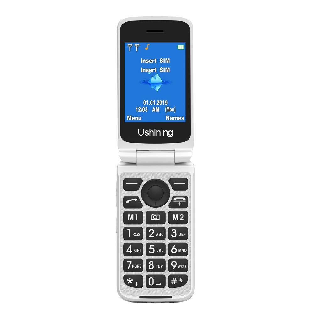 Ushining 3G Senior Flip Desbloqueado SIM teléfono móvil, Gran botón teléfono móvil fácil de Usar con Base de Carga: Amazon.es: Electrónica
