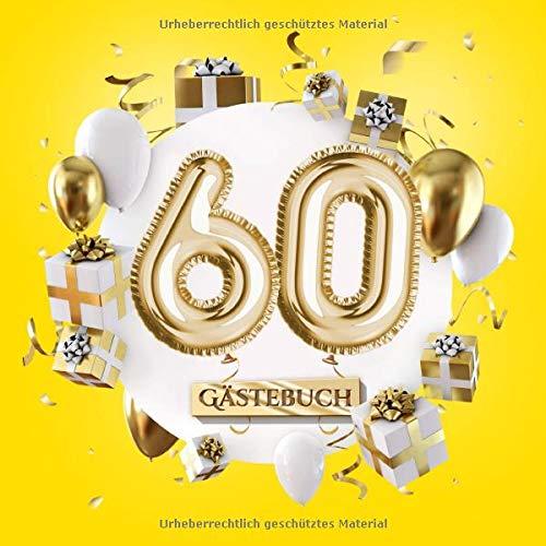 60 Gästebuch: Gelbe Deko zum 60.Geburtstag für Mann oder Frau - 60 Jahre Geschenk - Partydeko Gelb...