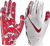 Nike Boy's Vapor Jet 5.0 Adjustable Wrist Closure Football Gloves (White/University Red/Medium)