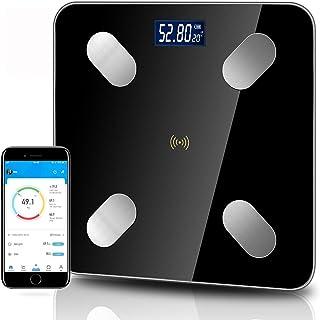 Körperfettwaage, Digital Personenwaagen, Bluetooth Körperanalysewaage mit App, Personenwaagen mit Step-On Technologie, 4 H...