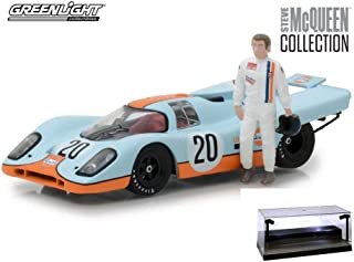 Diecast Car w/LED Display Case - 1970 Porsche 917K Gulf, #20 Steve McQueen - Greenlight 86435 - 1/43 Scale Diecast Model Toy Car