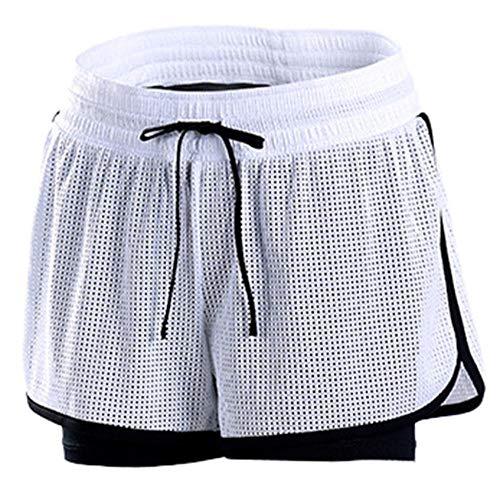 Pantalones Cortos de Yoga Deportivos para Mujer Pantalones Cortos vacíos para Gimnasio Fitness al Aire Libre Body Short Deportivo Mujer-Blanco_Metro 🔥