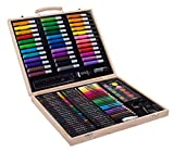 SunRise Portable Art Set For Kids | 131-Piece Variety, Drawing, Painting, Crayons, Color Pencils, Markers | With Wood Case
