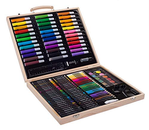 SunRise Portable Art Set For Kids   131-Piece Variety, Drawing, Painting, Crayons, Color Pencils, Markers   With Wood Case