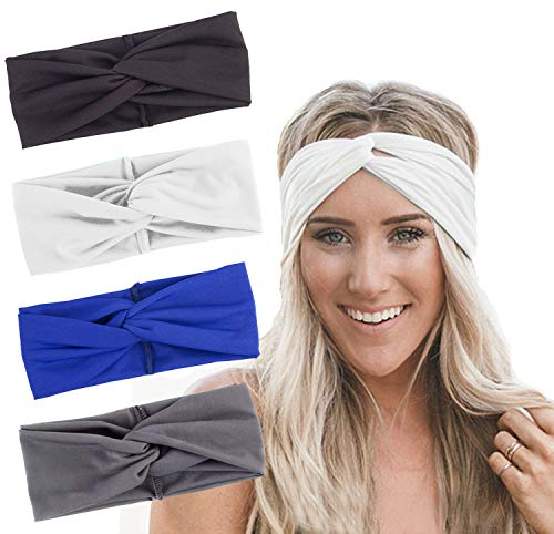 RIOSO Turban Headbands for Women Twisted Boho Headwrap Yoga Workout Sport Thick Head Bands(4 pack)