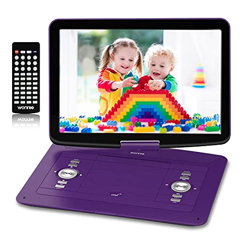 WONNIE 17.9' Portable DVD/CD Player with 15.4' Large Swivel HD Screen, 6 Hours 5000mAH Rechargeable Battery, Support USB/SD Card/ Sync TV, Regions Free, Car Charger, Remote Control for Kids, Purple