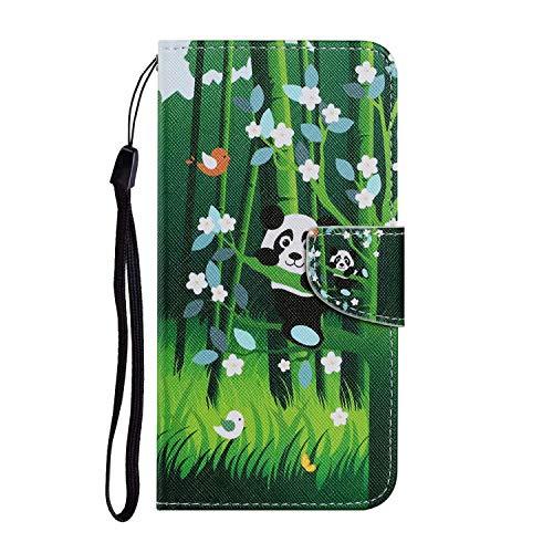Miagon für Samsung Galaxy A71 Hülle,Bunt Muster Handytasche Flip Case PU Leder Cover Magnet Schutzhülle Ständer mit Kartenfach Magnetisch,Panda