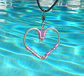 The ORIGINAL FISH HOOK HEART Necklace - Pink Wire on Silver Hooks