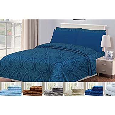 Lux Decor Collection Bed Sheet Set - Brushed Microfiber 1800 Bedding - Wrinkle, Stain and Fade Resistant - Hypoallergenic - 4 Piece (Queen, Paisley Navy Blue)