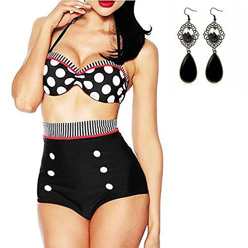 M-Queen Vintage Retro Taille Haute Push up Bandeau Bikini Maillot de Bain Imprimer Dot Maillot de Bain Set