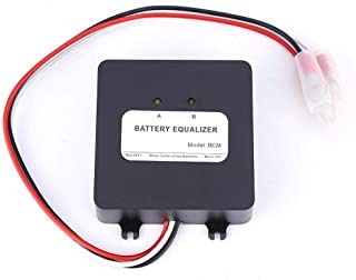 2x12V Battery Equalizer, Solar System Balancer with Reverse Connection Protection Black, Batteries Accessories