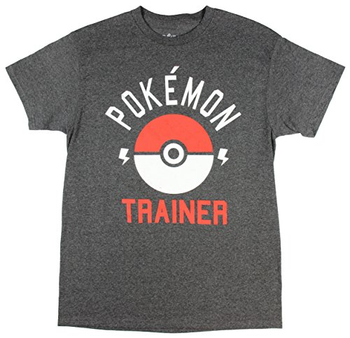 Pokemon Trainer Pokeball Mens Tee Shirt, Grey, Small