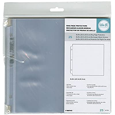 """We R Memory Keepers 660143 Ring Photo Sleeves 8""""X8"""" 25/Pkg-Full Page"""