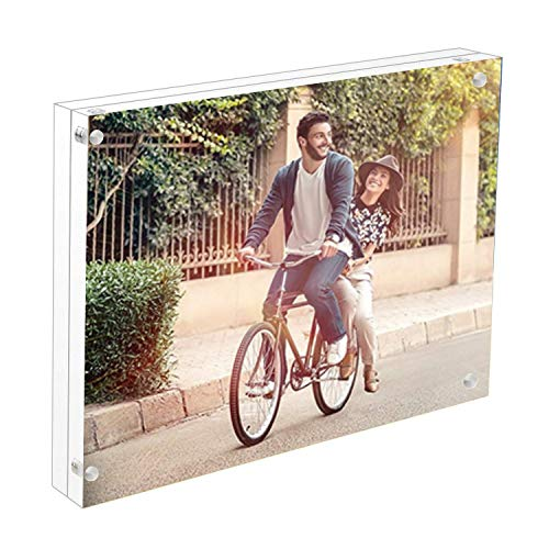 Cq acrylic 5 x 7 Acrylic Magnetic Picture Frame, Clear, 10 + 10MM Thickness Stand In Desk / Table,Pack of 1