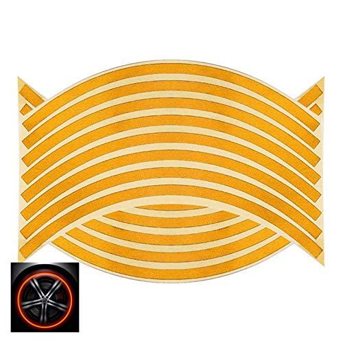 Without 16pcs 17'18' Tiras Motocicleta Rueda Coche Rueda neumático Pegatinas Reflectante Rim Cinta Moto de Moto Reflectante Rim Cinta (Color : Orange A)