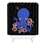 Aquatic Affection Octopus Shower Curtain / Tentacle Scuba Diver Shower Curtain / Black Deep Sea / Made in USA / Great Decoration Gift for Bathroom