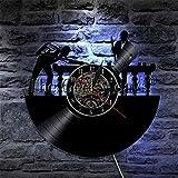zgfeng Billar 3D Reloj de Pared con Disco de Vinilo Mesa de Billar Deportiva Jugadores de Billar Reloj de Pared Jugadores de Billar Decoración de Sala de Billar con luz de Noche LED