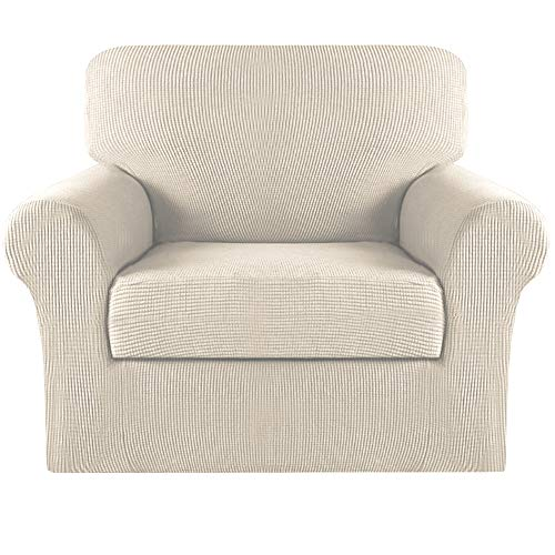 Turquoize 2 Piece Sofa Covers Chair Cover Couch Covers Slipcovers Furniture Protector for Living Room Arm Chair Slipcover with Elastic Bottom Jacquard Small Check (Chair, Natural Beige)
