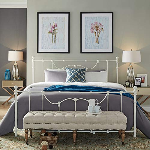 Inspire Q Classic Bellwood Victorian Iron Metal Bed by Antique White Antique Full