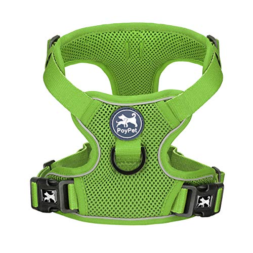 PoyPet Reflective Soft Breathable Mesh Dog Harness Choke-Free Double Padded Vest with Adjustable Neck and Chest(Grass Green,S)