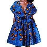 TIMEMEAN Femmes Été Africain Imprimé Fête élégante sans Manches Méthodes de Port Multiples Robe à Bretelles