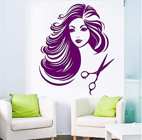 zwyluck 3D-muursticker, voor kappers/meisjes, met tondeuse, kunst, muurstickers, huisdecoratie, behang, 56 x 89 cm