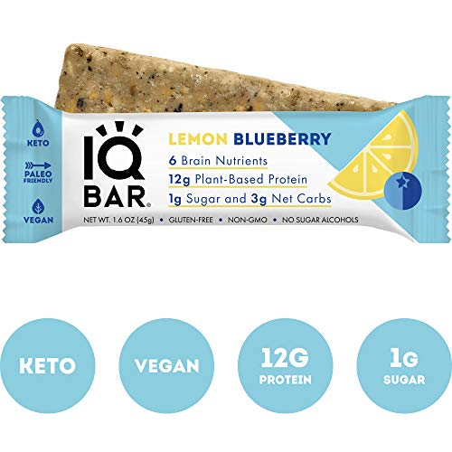 IQBAR Brain  Body Protein Bars | Keto Vegan Paleo Friendly Low Sugar Low Net Carb High Fiber Gluten Free No Sugar Alcohols | 12 Count Lemon Blueberry 12 Count