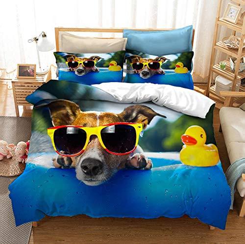 ZYNYHGS Animal Pug Funda nórdica 3D, Funda de edredón para niños, Adultos y Adolescentes, Kit de Ropa de Cama Suave y cómodo para niños y niñas, Textiles para el hogar-H_173x218cm (3pcs)