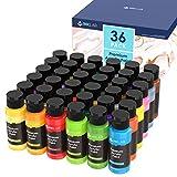 Peinture Acrylique 36 Couleurs Non Toxique Kit de Peinture Acrylique Couleurs Brillantes Pigments Riches pour Artistes la Peinture sur Toile Papier Bois Pierre Céramique