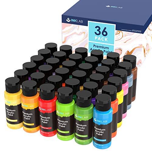 INK LAB Set di Colori Acrilici 36 Colori Acriliche Pittura Acrilica Professionale per Artisti Tela Legno Ceramica Carta Artigianato Bambini