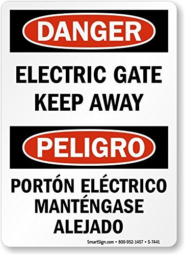 GIGIEU Danger: Electric Gate Keep Away, Peligro Porton Electrico, Carteles y Etiquetas Adhesivas, 10 x 7 cm
