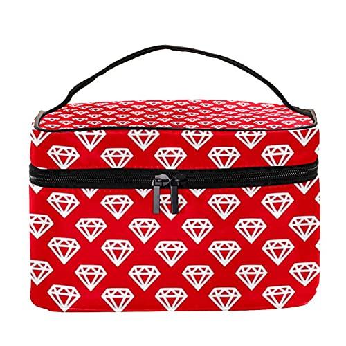Bolsa de maquillaje de viaje con patrón rojo de diamante, bolsa de maquillaje, organizador con cremallera, para mujeres y niñas