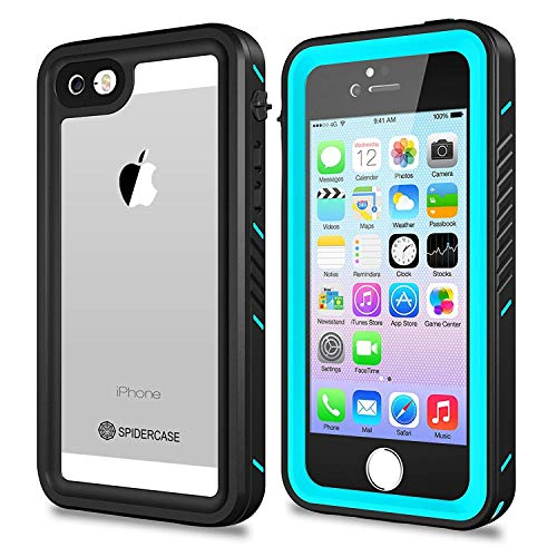 SPIDERCASE iPhone 5/5S/SE Waterproof Case, Full Body Protective Cover Rugged Dustproof Snowproof IP68 Certified Waterproof Case Touch ID iPhone 5S 5 SE (Blue&Clear)