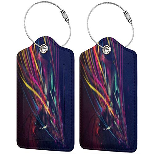 FULIYA Travel Luggage Suitcase Labels ID Tags Business Card Holder, Set of 2,Lines, Colors, Background, Dark, Bright