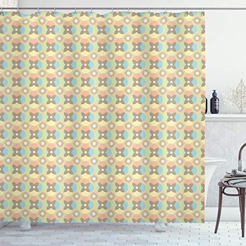 ABAKUHAUS Retro Duschvorhang, Vintage Pale Kreise, Digital auf Stoff Bedruckt inkl.12 Haken Farbfest Wasser Bakterie Resistent, 175 x 200 cm, Multicolor