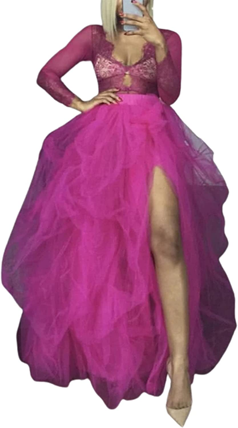 Super Special SALE held Womens Tulle Tutu Long Skirt 3 Layered High Waist Ruffle New sales Skirts