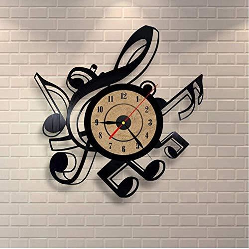 ZYJHD Creatividad Novedad Sala de Estar Vintage Retro Vinilo Reloj de Pared Temas Musicales CD Grabar Reloj Reloj Grande 3D Decoración para el hogar Reloj 12 Pulgadas