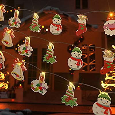 Geanli Christmas String Lights Ornaments - LED Xmas Tree Hanging Decorations with 3 Modes for Gate Party Indoor Outdoor Decor (Candycane)