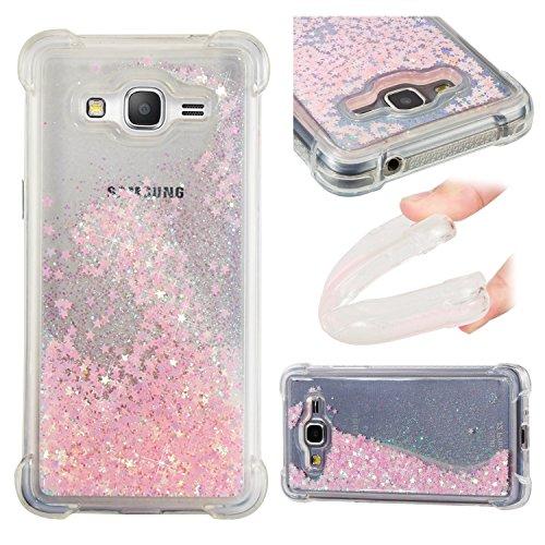 ChoosEU Cover Compatibile con Samsung Galaxy Grand Prime G530 Trasparenti Silicone Disegni Brillantini Colorate Belle Glitter Morbido Antiurto Gomma Custodia Brillante Bumper Case Chiaro Protezione