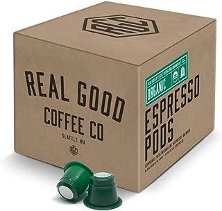 Real Good Coffee Co USDA Certified Organic Strongest Nespresso Pods, 72 Count, Recyclable Single Serve Espresso Pods for Nespresso OriginalLine Brewers
