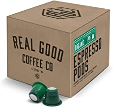 Real Good Coffee Co USDA Certified Organic Strongest Nespresso Pods, 72 Count, Recyclable Single Serve Espresso Pods for Nespresso OriginalLine Brewers